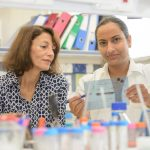 Sima Lev and Nandini Verma in the lab
